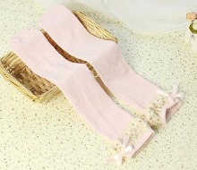 Soft Pink Crochet Frill Knee Socks